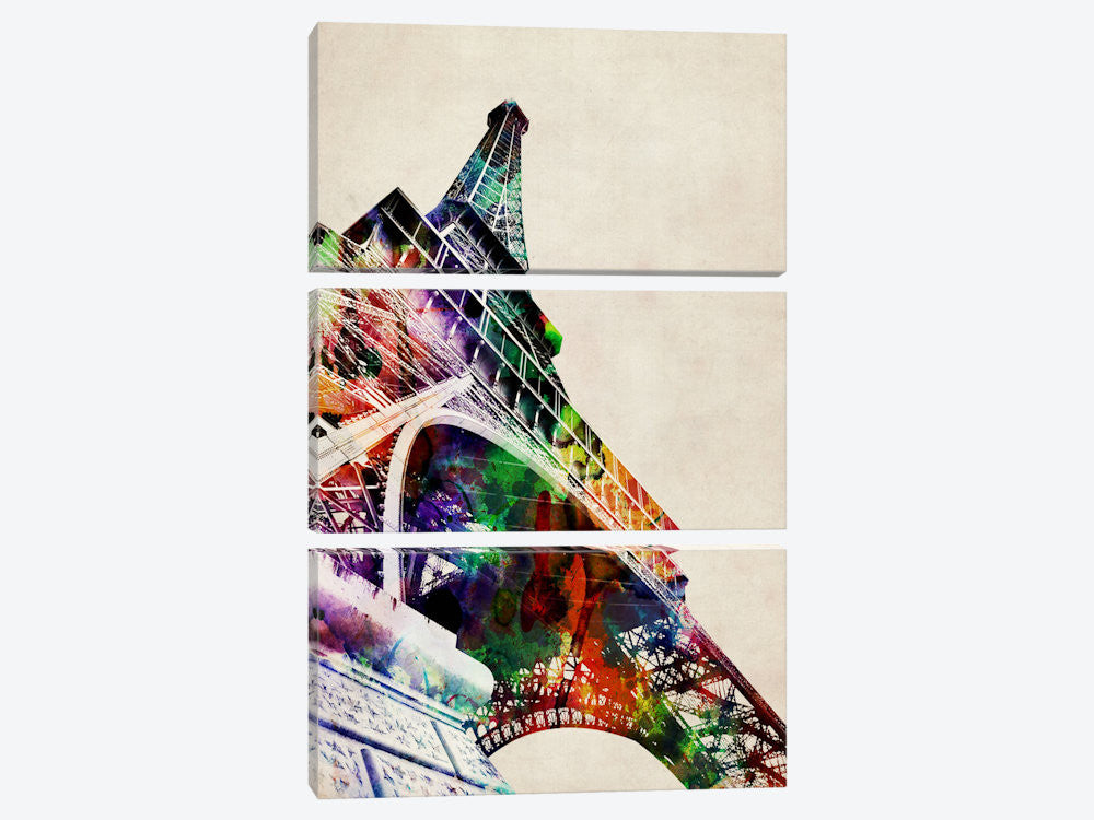 "Eiffel Tower watercolor by Michael Tompsett Canvas Print 40"" L x 60"" H x 0.75"" D - eWallArt"