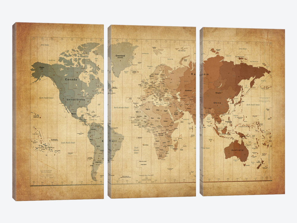 "Map of The World III by Michael Tompsett Canvas Print 60"" L x 40"" H x 0.75"" D - eWallArt"