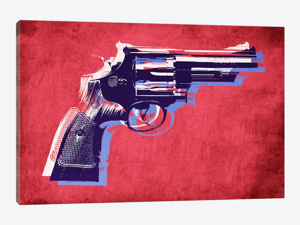 "Revolver Magnum on Red by Michael Tompsett Canvas Print 26"" L x 18"" H x 0.75"" D - eWallArt"