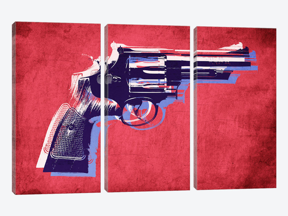 "Revolver Magnum on Red by Michael Tompsett Canvas Print 60"" L x 40"" H x 0.75"" D - eWallArt"