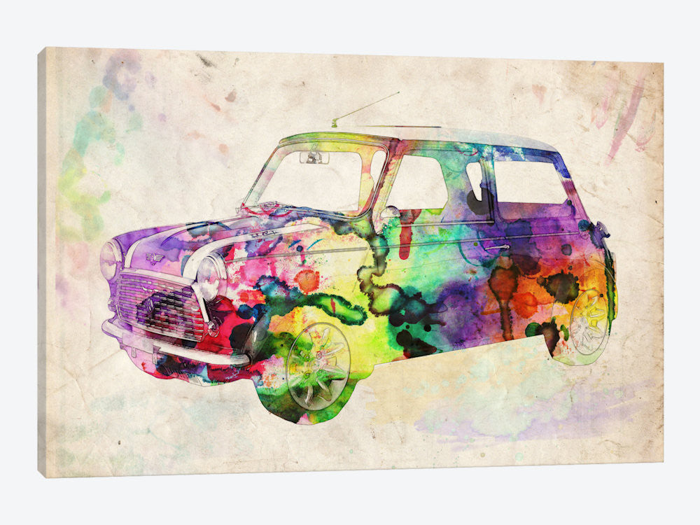 "Mini Cooper Urban II by Michael Tompsett Canvas Print 40"" L x 26"" H x 0.75"" D - eWallArt"