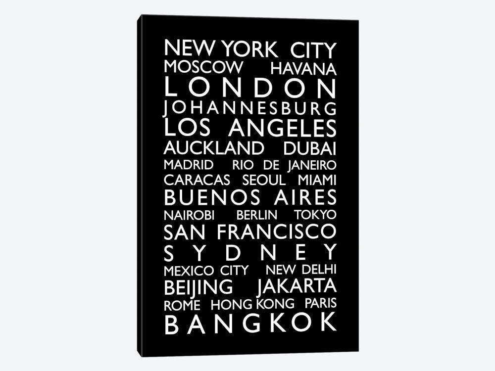 "World Cities Bus Roll by Michael Tompsett Canvas Print 26"" L x 40"" H x 0.75"" D - eWallArt"