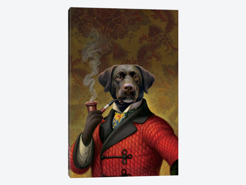 "The Red Beret Dog by Dan Craig Canvas Print 40"" L x 60"" H x 1.5"" D - eWallArt"