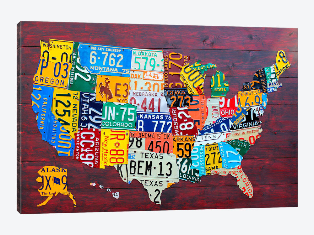 "License Plate Map USA by David Bowman Canvas Print 26"" L x 18"" H x 0.75"" D - eWallArt"