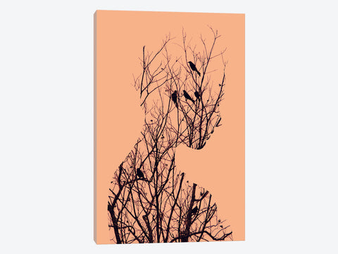 "Birds On A Cat by Jazzberry Blue Canvas Print 18"" L x 26"" H x 0.75"" D"