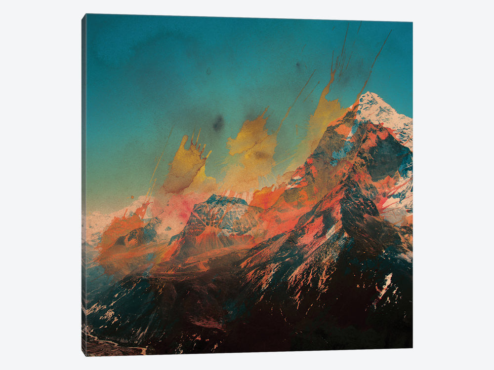 "Mountain Splash by Andreas Lie Canvas Print 37"" L x 37"" H x 0.75"" D - eWallArt"