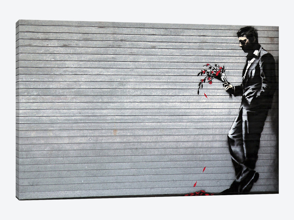 "Waiting in Vain at the Door of the Club by Banksy Canvas Print 60"" L x 40"" H x 1.5"" D - eWallArt"