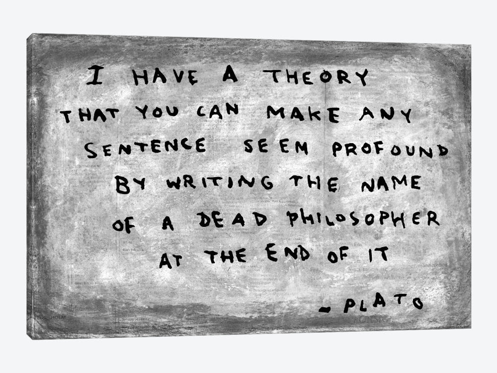 "Fake Plato Quote Newspaper Background by Banksy Canvas Print 26"" L x 18"" H x 0.75"" D - eWallArt"