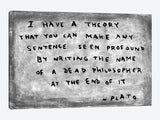 Fake Plato Quote Newspaper Background by Banksy Canvas Print 40