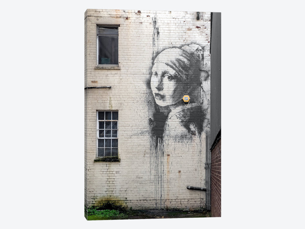 "Girl with pierced eardrum by Banksy Canvas Print 26"" L x 40"" H x 0.75"" D - eWallArt"