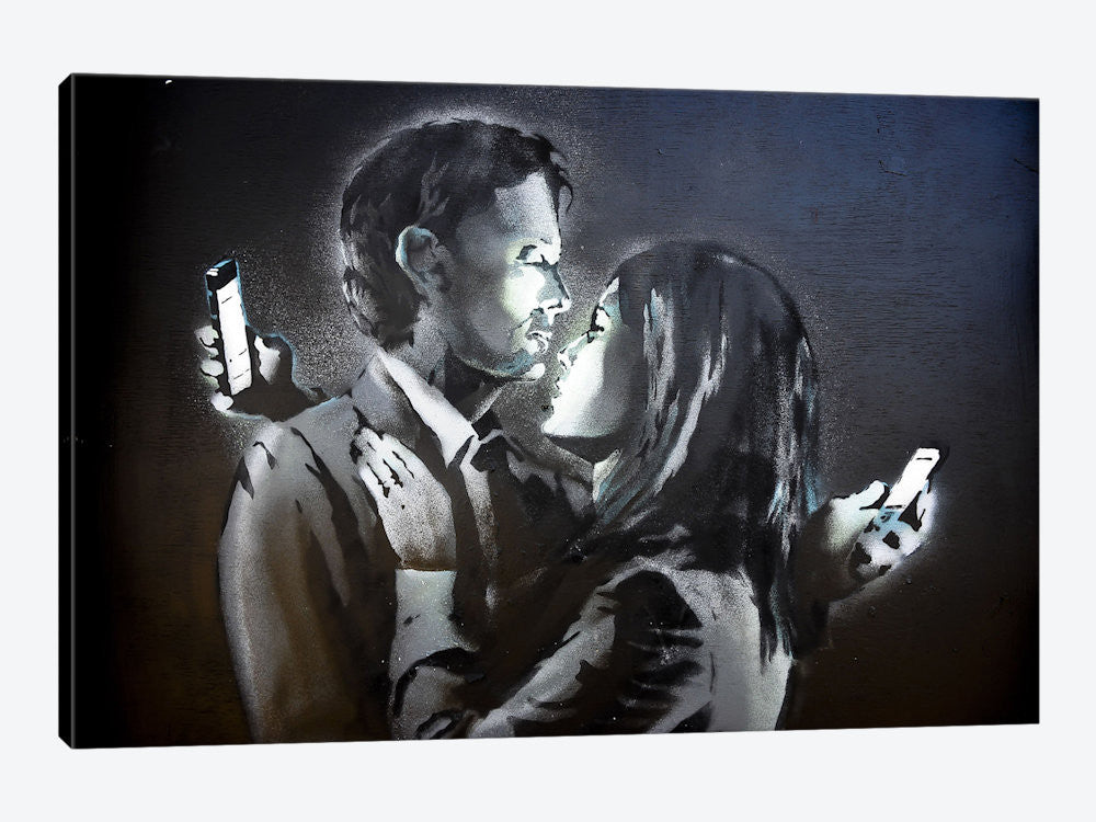 "Mobile Lovers #3 by Banksy Canvas Print 60"" L x 40"" H x 1.5"" D - eWallArt"