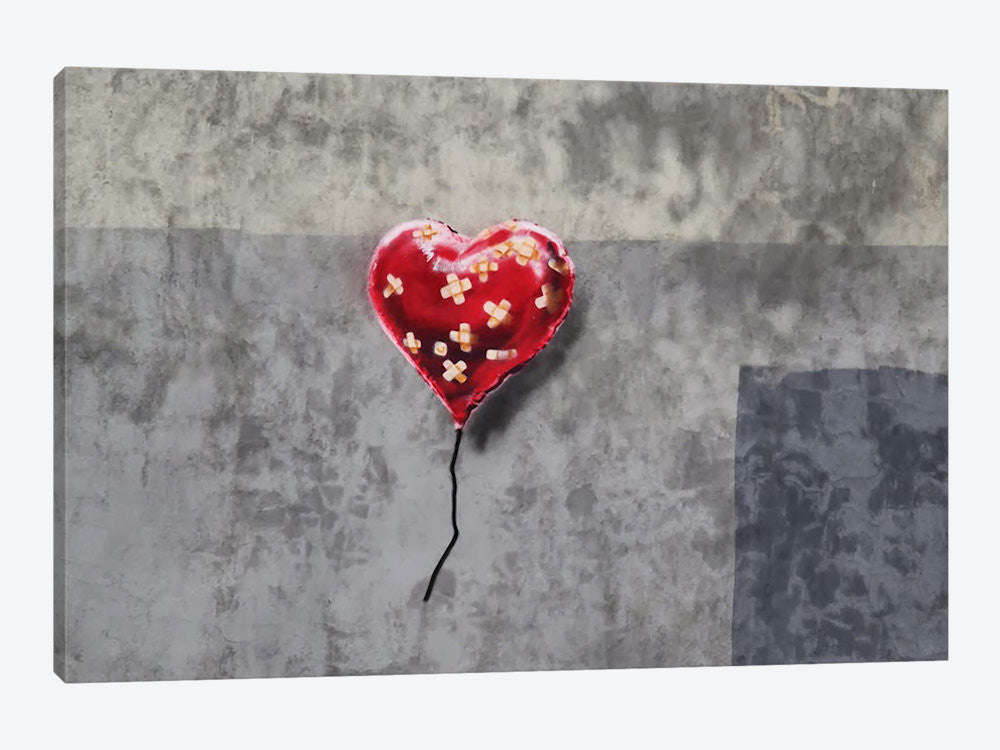 "Bandage Heart Full by Banksy Canvas Print 40"" L x 26"" H x 0.75"" D - eWallArt"