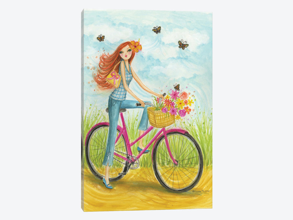 "Sprung Bicycle Ride by Bella Pilar Canvas Print 18"" L x 26"" H x 0.75"" D - eWallArt"