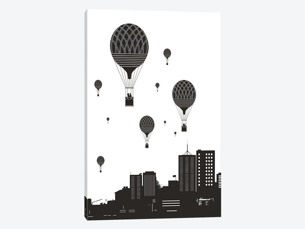 "Balloons And The City by Balazs Solti Canvas Print 18"" L x 26"" H x 0.75"" D - eWallArt"