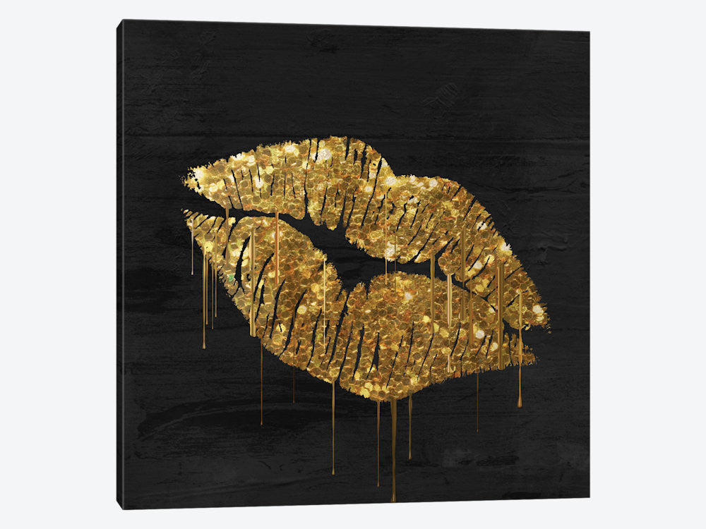 "Golden Lips by Color Bakery Canvas Print 37"" L x 37"" H x 0.75"" D - eWallArt"