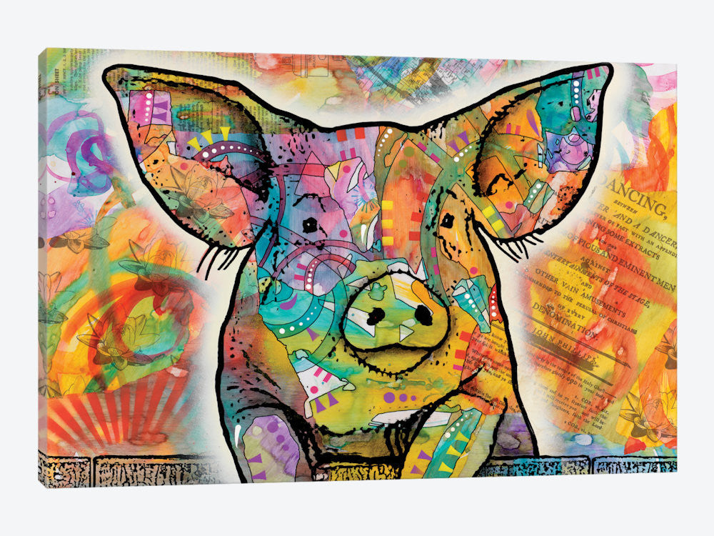 "The Pig by Dean Russo Canvas Print 26"" L x 18"" H x 0.75"" D - eWallArt"