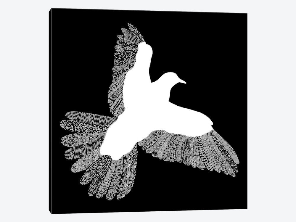 "Bird on Black by Florent Bodart Canvas Print 37"" L x 37"" H x 0.75"" D - eWallArt"