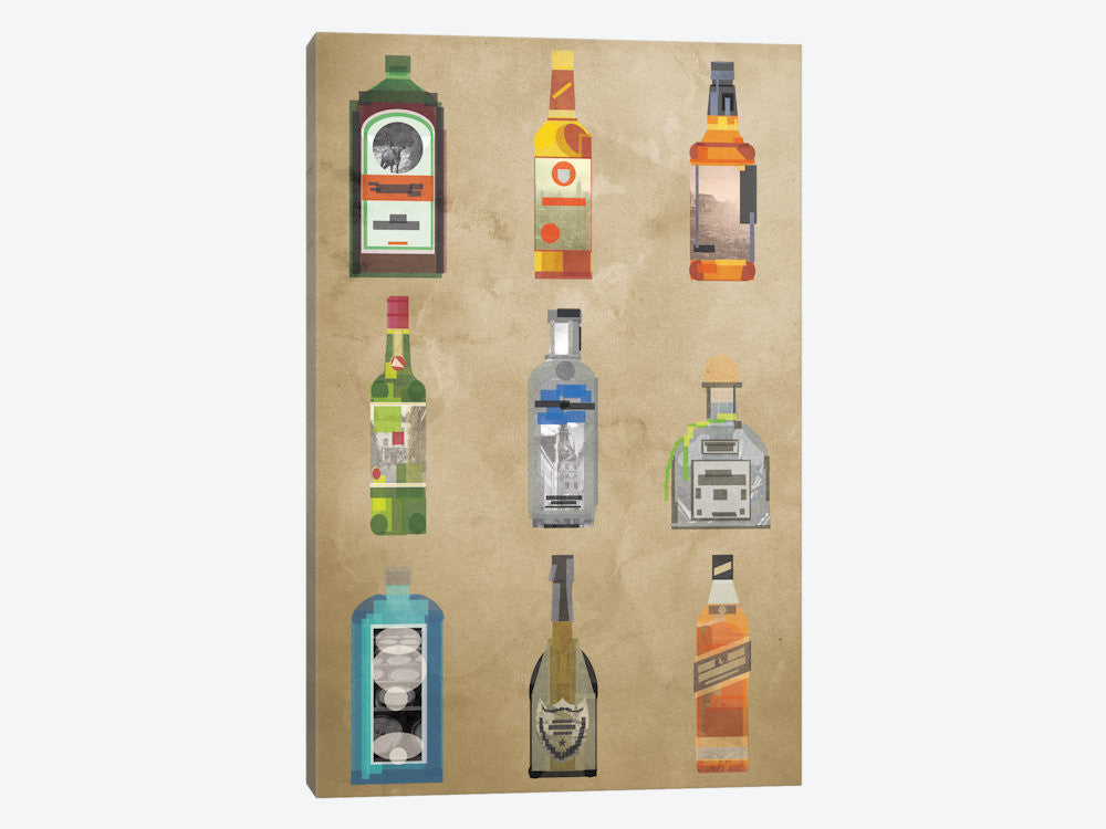 "Liquor Bottles by 5by5collective Canvas Print 18"" L x 26"" H x 0.75"" D - eWallArt"