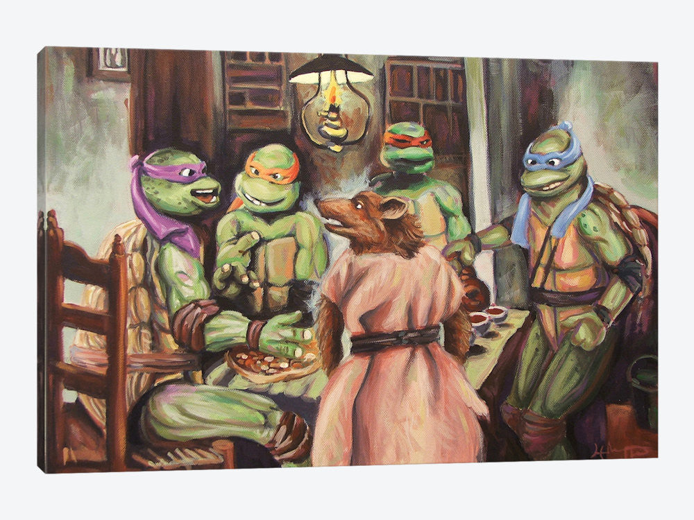 "The Pizza Eaters by Hillary White Canvas Print 26"" L x 18"" H x 0.75"" D - eWallArt"