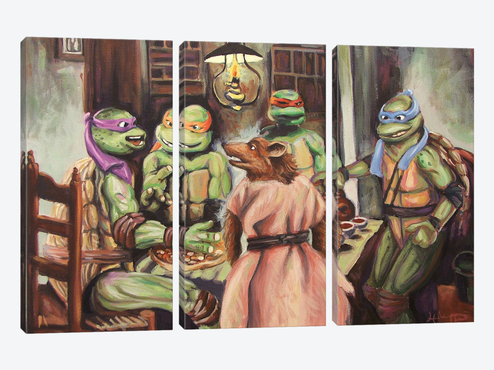 "The Pizza Eaters by Hillary White Canvas Print 60"" L x 40"" H x 0.75"" D - eWallArt"
