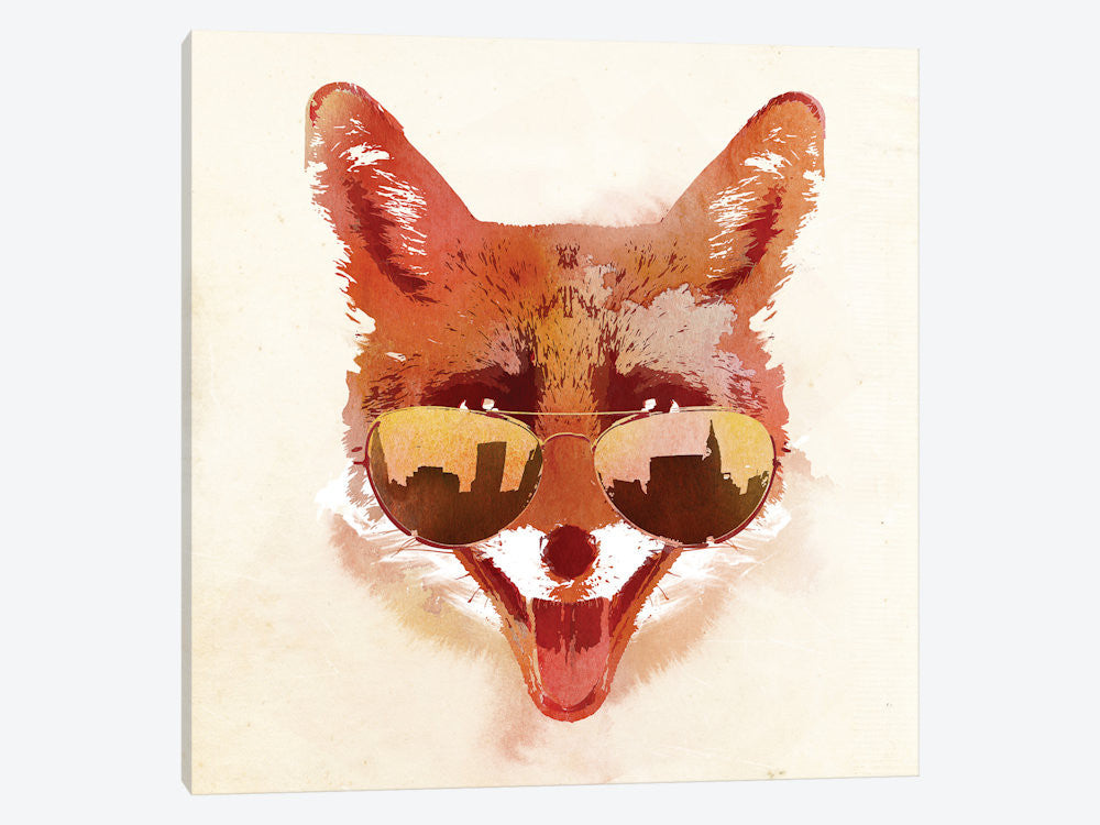 "Big Town Fox by Robert Farkas Canvas Print 37"" L x 37"" H x 0.75"" D - eWallArt"