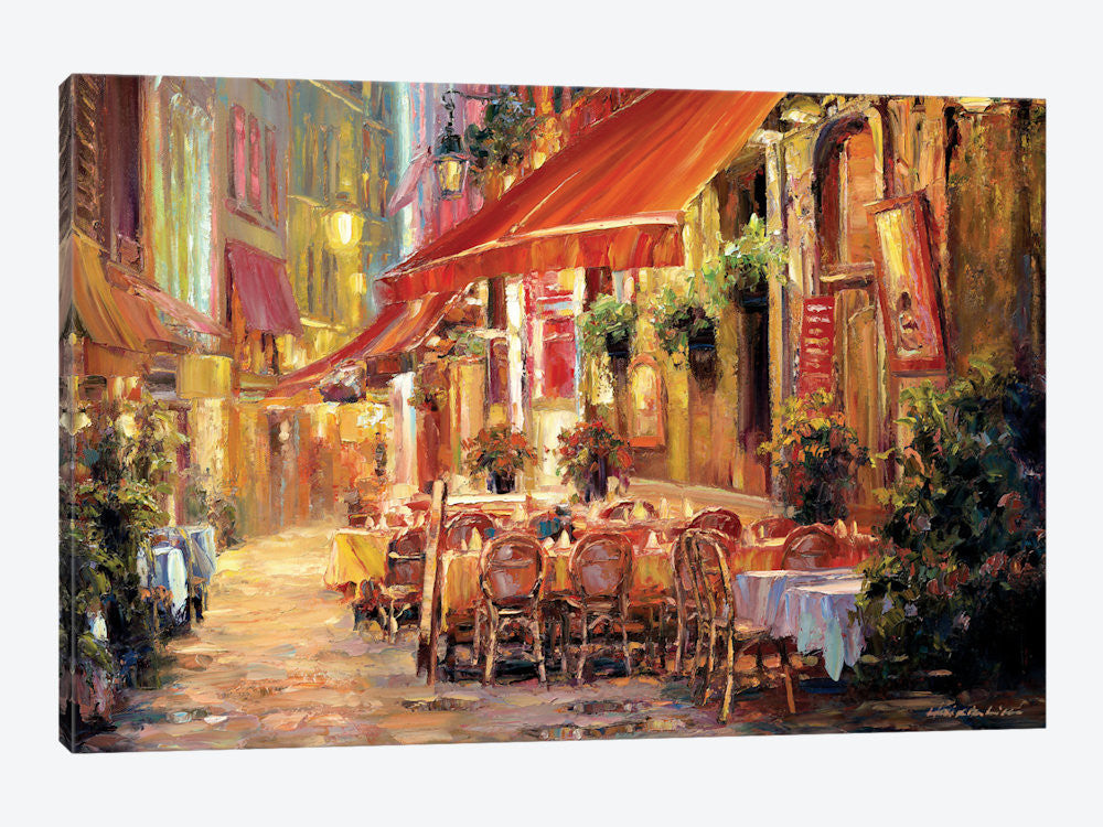 "Cafe in Light by Haixia Liu Canvas Print 26"" L x 18"" H x 0.75"" D - eWallArt"