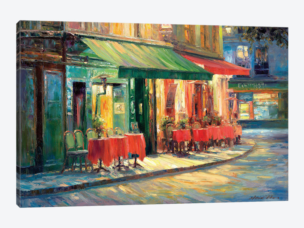 "Red & Green Cafe by Haixia Liu Canvas Print 26"" L x 18"" H x 0.75"" D - eWallArt"