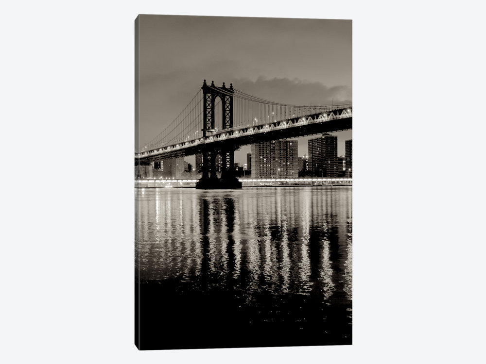 "Manhattan Bridge At Night by Alan Blaustein Canvas Print 26"" L x 40"" H x 0.75"" D - eWallArt"