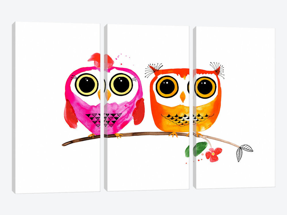 ICS93-3PC3-60x40 Owl Love by Margaret Berg Canvas Print