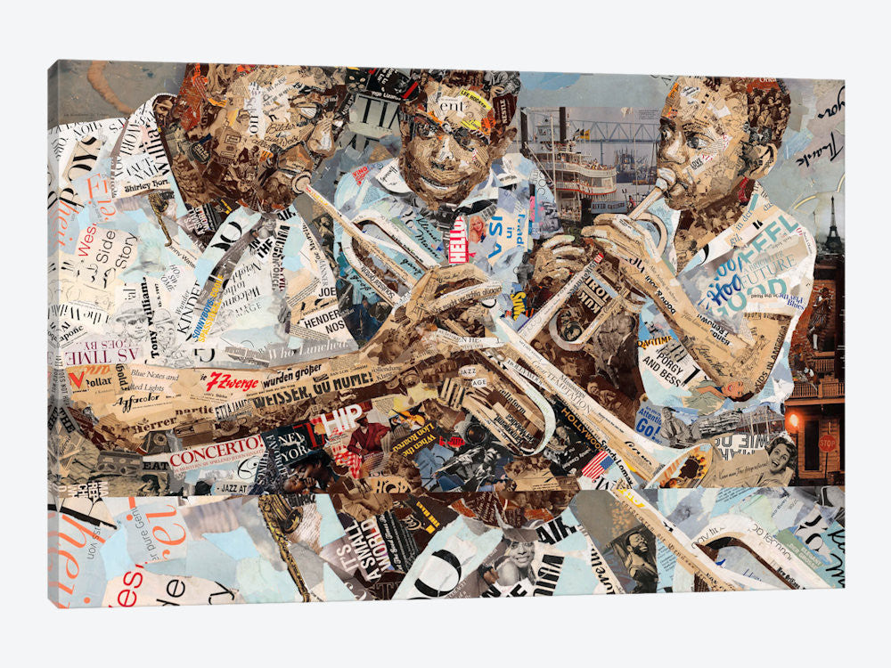 "Blues Boys  by Ines Kouidis Canvas Print 60"" L x 40"" H x 1.5"" D - eWallArt"