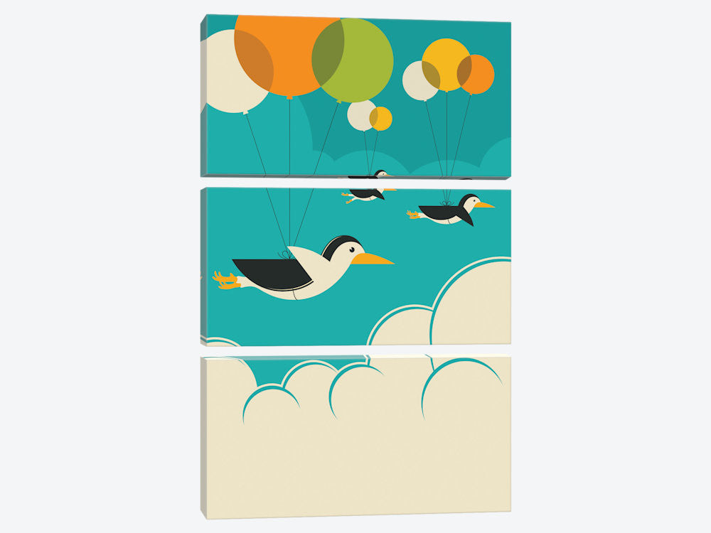 "Flock Of Penguins by Jazzberry Blue Canvas Print 40"" L x 60"" H x 0.75"" D - eWallArt"