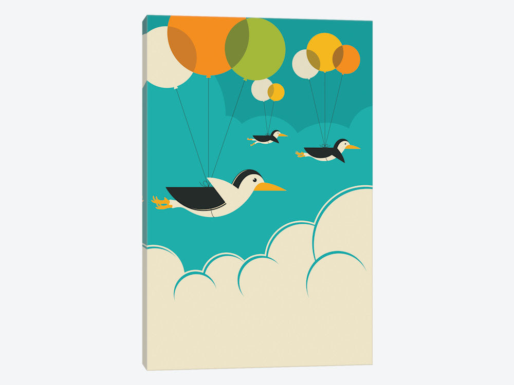 "Flock Of Penguins by Jazzberry Blue Canvas Print 26"" L x 40"" H x 0.75"" D - eWallArt"