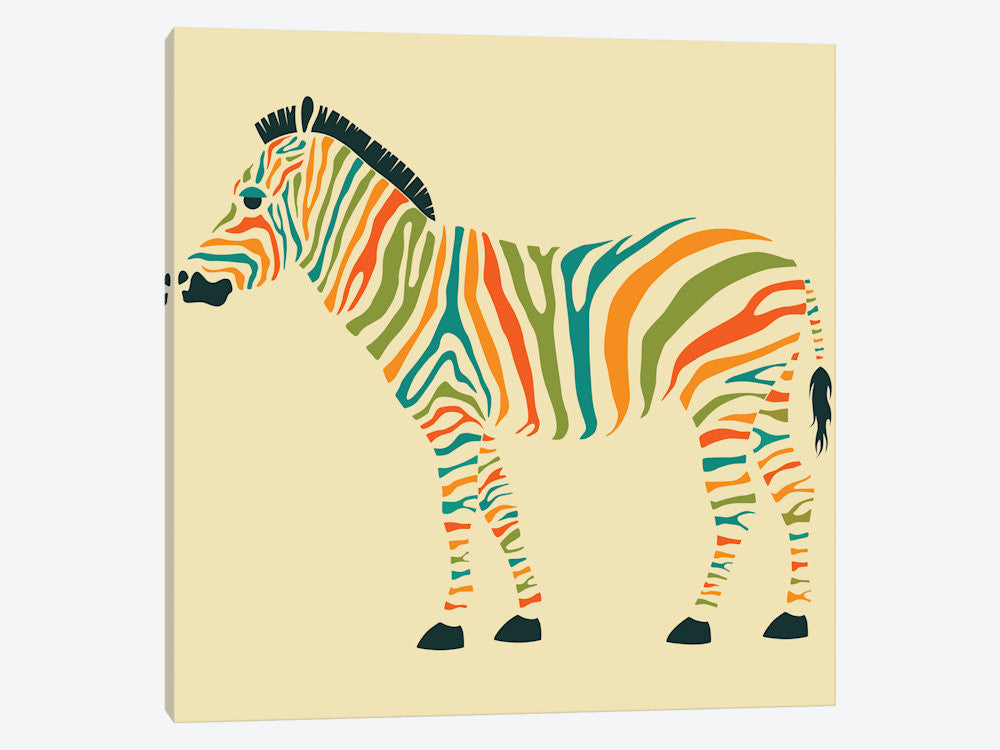 "Zebra by Jazzberry Blue Canvas Print 37"" L x 37"" H x 0.75"" D - eWallArt"