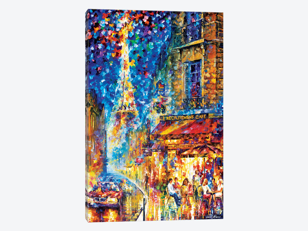 "Paris  Recruitement Cafe by Leonid Afremov Canvas Print 26"" L x 40"" H x 0.75"" D - eWallArt"