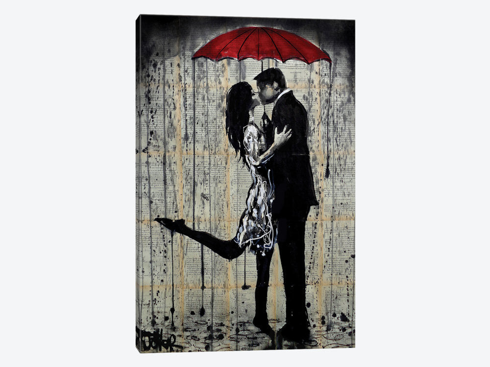 "Rainy Hearts by Loui Jover Canvas Print 26"" L x 40"" H x 0.75"" D - eWallArt"