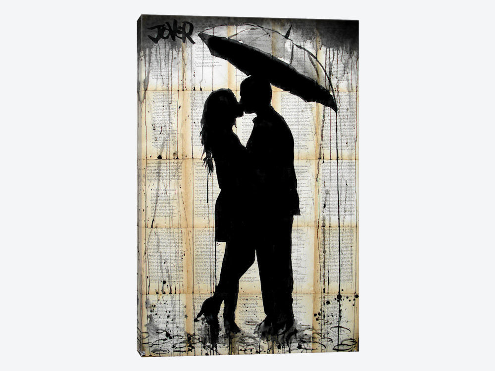 "Rain Lovers by Loui Jover Canvas Print 26"" L x 40"" H x 0.75"" D - eWallArt"