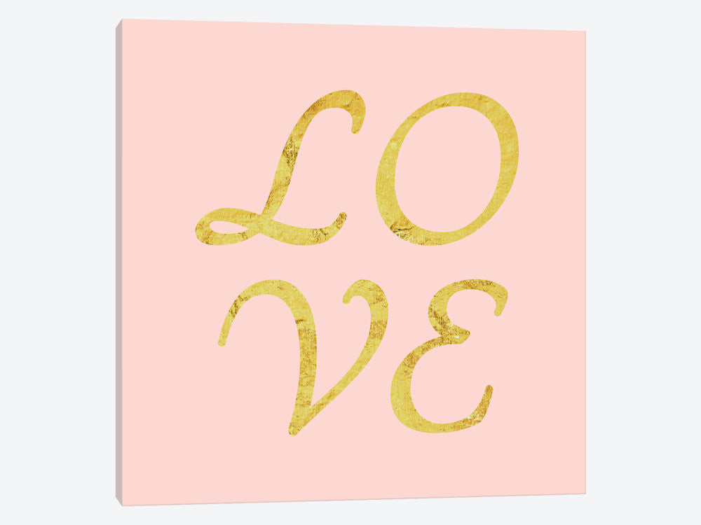 LTL33-1PC3-37x37 Love Yellow on Pink by 5by5collective Canvas Print