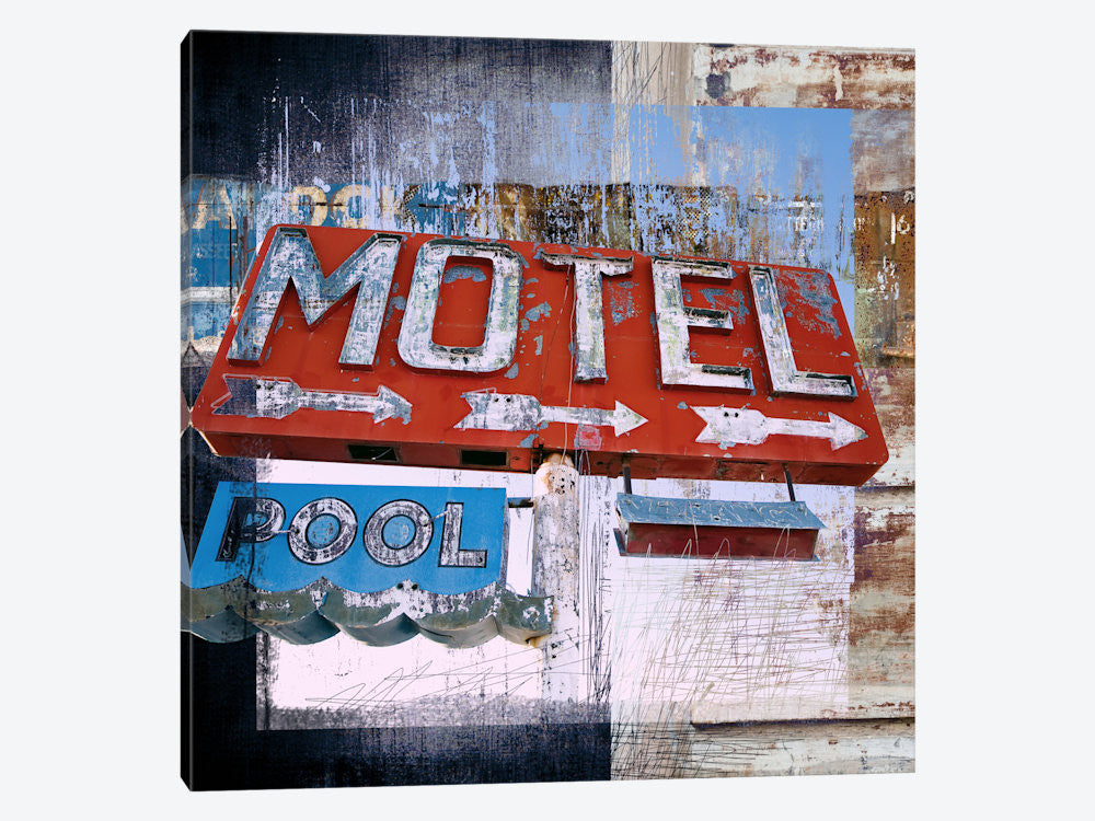 "Motel Pool by Luz Graphics Canvas Print 37"" L x 37"" H x 0.75"" D - eWallArt"