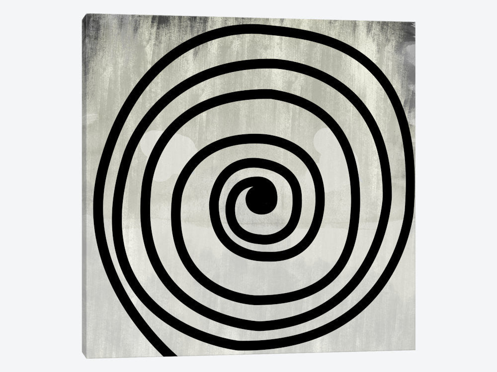 "Mid Century Modern Art Black Swirl by 5by5collective Canvas Print 37"" L x 37"" H x 0.75"" D - eWallArt"
