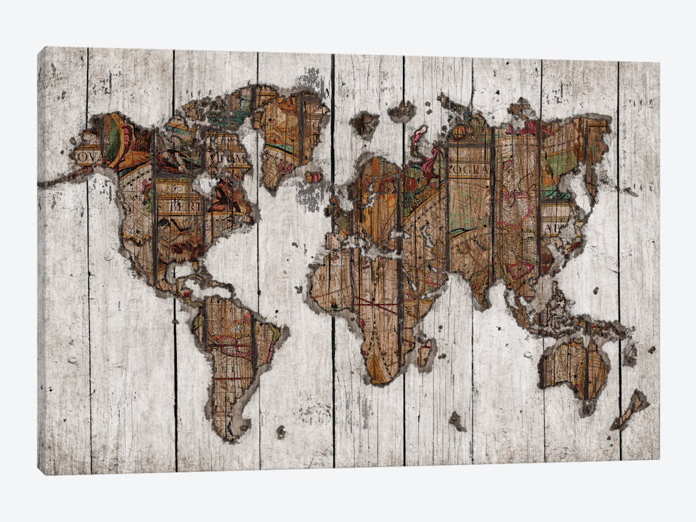 MXS94-1PC3-40x26 Wood Map by Diego Tirigall Canvas Print
