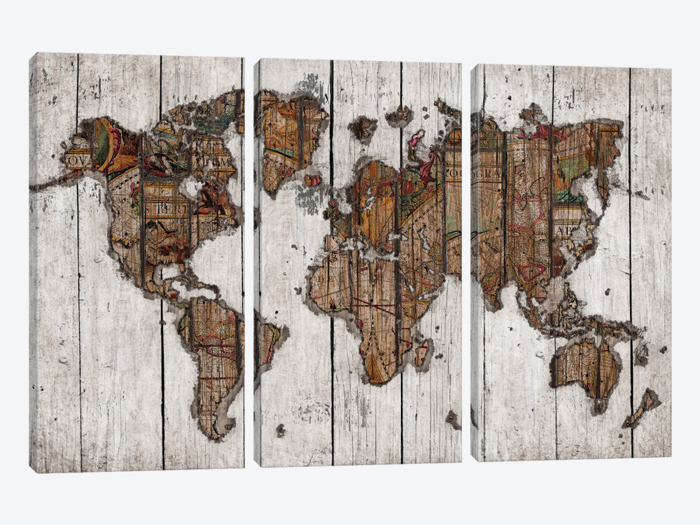 "Wood Map by Diego Tirigall Canvas Print 60"" L x 40"" H x 0.75"" D - eWallArt"