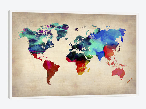 "World Watercolor Map I by Naxart Canvas Print 60"" L x 40"" H x 0.75"" D"