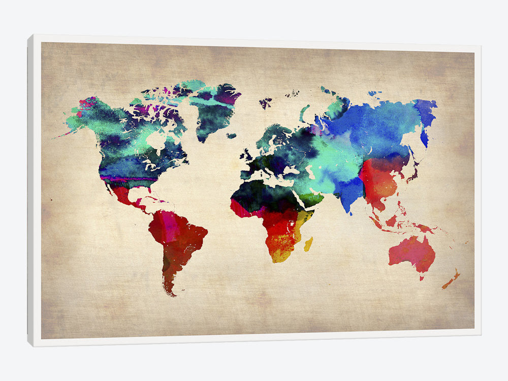"World Watercolor Map I by Naxart Canvas Print 26"" L x 18"" H x 0.75"" D - eWallArt"