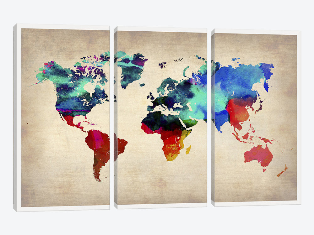 "World Watercolor Map I by Naxart Canvas Print 60"" L x 40"" H x 0.75"" D - eWallArt"