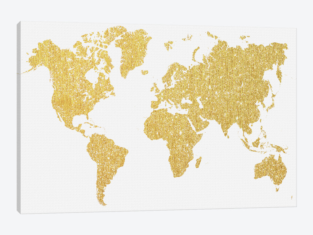 "Gold Map by Natasha Westcoat Canvas Print 26"" L x 18"" H x 0.75"" D - eWallArt"