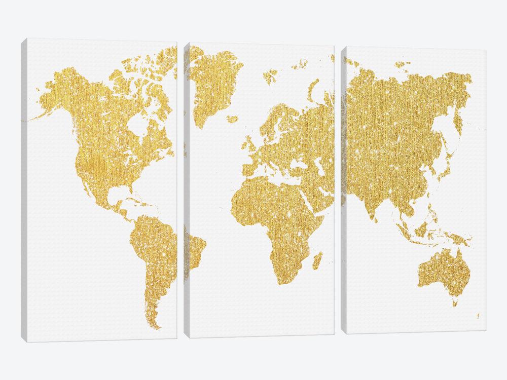 "Gold Map by Natasha Westcoat Canvas Print 60"" L x 40"" H x 0.75"" D - eWallArt"