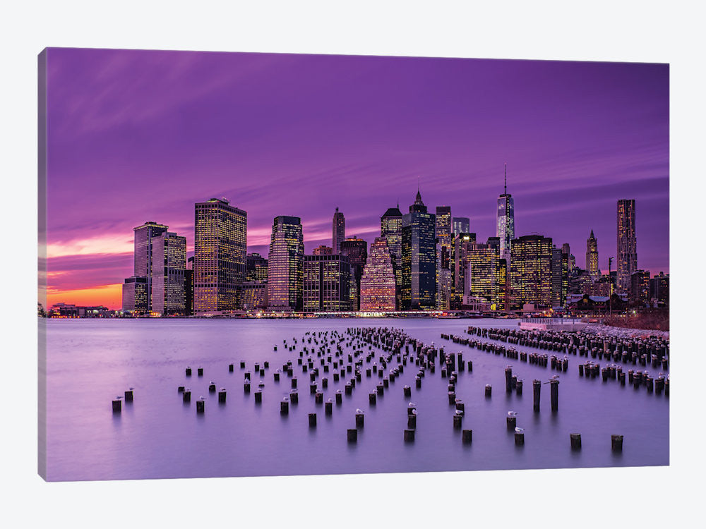 "New York Violet Sunset by J.G Damlow Canvas Print 40"" L x 26"" H x 0.75"" D - eWallArt"