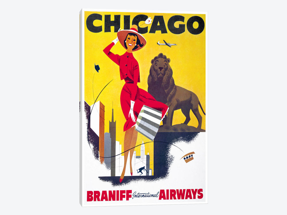 "Chicago Braniff International Airways by Print Collection Canvas Print 18"" L x 26"" H x 0.75"" D - eWallArt"