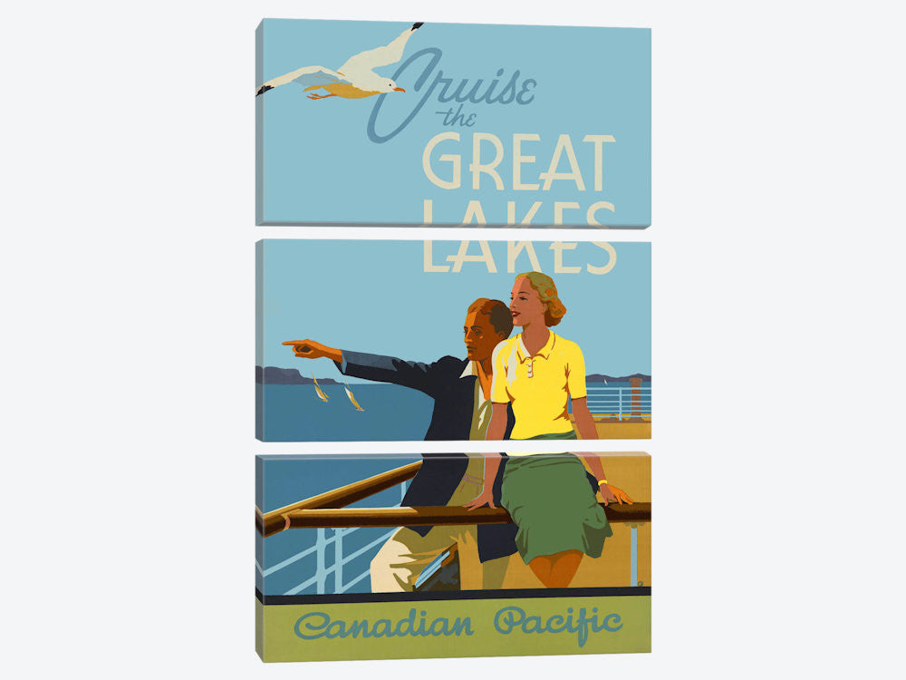 "Couple Cruise the Great Lakes Canadian Pacific by Print Collection Canvas Print 40"" L x 60"" H x 0.75"" D - eWallArt"