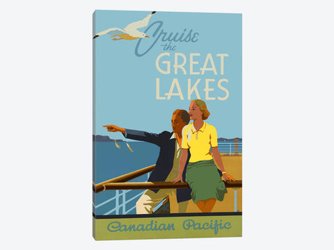 "Couple Cruise the Great Lakes Canadian Pacific by Print Collection Canvas Print 40"" L x 60"" H x 1.5"" D"